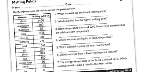 solids  liquids melting points worksheet teacher