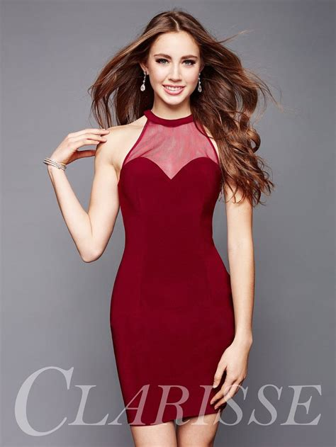 Simple tight fitted short burgundy homecoming dress with ...