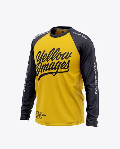 The template is made in such a way that you can easily change the color of its individual parts, like. Mens Raglan Long Sleeve T-Shirt Front Half Side View ...