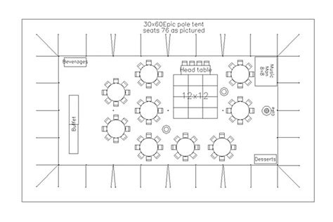 wedding reception layout tents events sample layout for 75 attendees