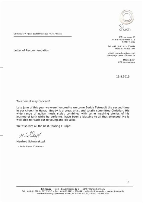 Letter Of Recommendation From Pastor Awesome Letter Re Mendation C3 Germany Hanau