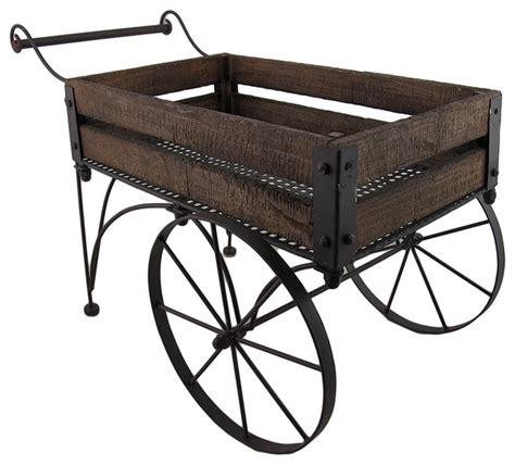 rustic wood and metal indoor outdoor 2 wheeled wagon cart
