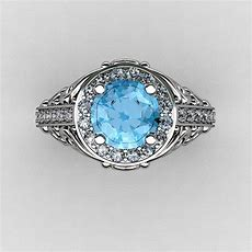 Italian 14k White Gold 10 Ct Blue Topaz Diamond