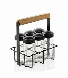 Support à épices : support pices m tal noir et bois et 6 pots pices en verre ~ Teatrodelosmanantiales.com Idées de Décoration
