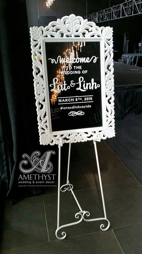 white mirror easel  sign diy hire  vinyl text