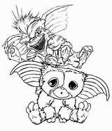 Gizmo Gremlins Coloring Template Printable Drawing Tattoo Sheets Wet Sketch sketch template