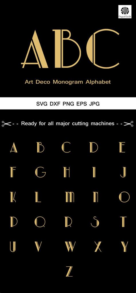 art deco monogram alphabet font svg monogram letters