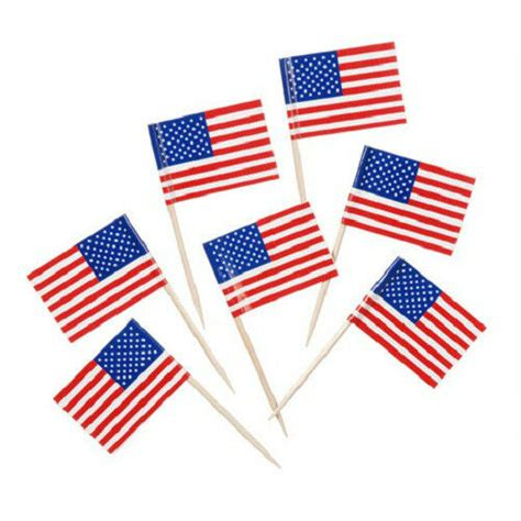 100 Usa American Flag Toothpicks July 4th, Patriotic
