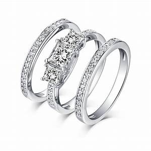 Princess cut 925 sterling silver white sapphire 3 piece 3 for Three stone wedding ring set