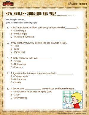 how health conscious are you printable sixth grade