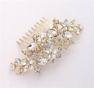 Gold Hair Comb Crystal Bridal Hair Piece Wedding Jewelry