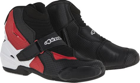 motorcycle street racing boots mens alpinestars black white red textile smx 1r motorcycle