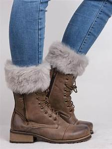 Solid Color Faux Fur Ankle Socks Knitted Boot Cuffs