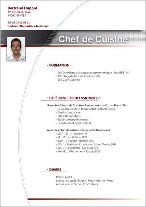chef de cuisine luxembourg exemple cv cuisinier création cv par cv facile