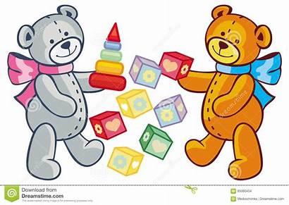 Teddy Clip Bears Toys Children Playing Blocks