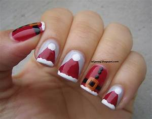 Christmas nail art santa s hats and dress taya