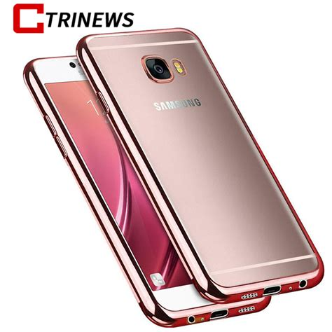 ctrinews silicone for samsung galaxy c5 c7 note 8 luxury plating transparent soft tpu cover