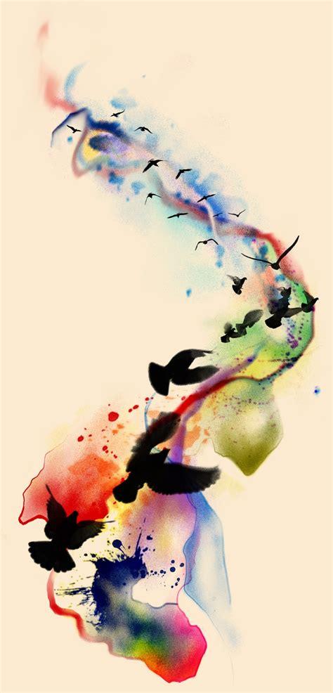 tattoo design watercolor birds  badfish  deviantart