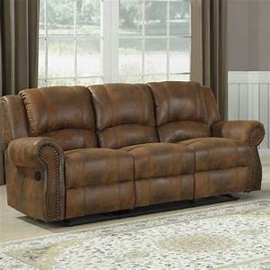 homelegance quinn double reclining sofa in brown With brown microfiber recliner sectional sleeper sofa