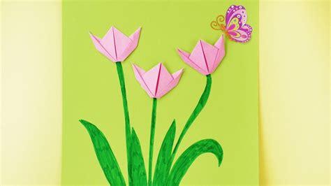 basteln mit kindern fruehling origami tulpen falten fruehlingsdeko fuers zimmer youtube