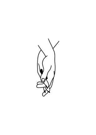 Minimalist Transparent Drawing Art Hands | Simple