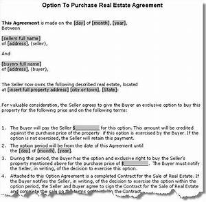 property purchase option agreement contract With real estate option agreement template