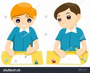 Boy Cheating On Exam Vector Stock Vector 18464338 ...