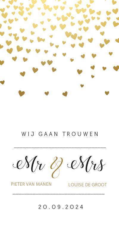 gouden hartjes trouwkaart trouwkaarten kaartje2go