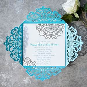 modern tiffany blue laser cut silver foil lace wedding With turquoise laser cut wedding invitations