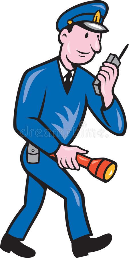 policeman with gun clipart black and white policeman torch radio stock illustration