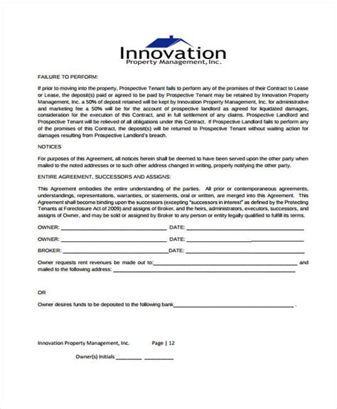 property management agreement template 7 management contract templates free sle exle format free premium templates
