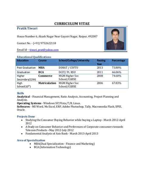 Format For Freshers Resume by Resume Format For Freshers