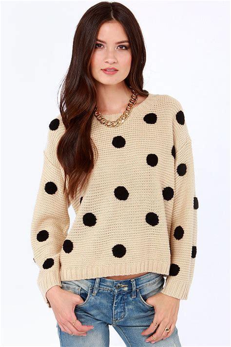 polka dot sweater polka dot sweater beige sweater knit sweater 46 00