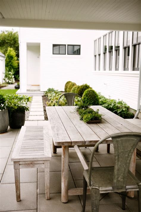 rustic farmhouse table bench metal outdoor dining