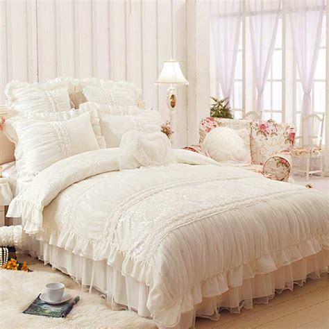 lace ruffles princess bedding set luxury 4pcs beige