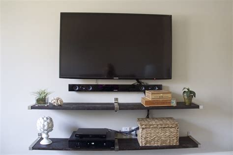 Tv Regal Wand tv wall using ikea ekby shelf end brackets and connecting