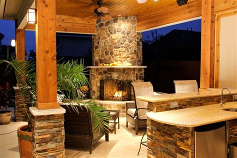 Patio Cover With Fireplace & Kitchen In Firethorne Country Kitchen Wallpaper Patterns Splashback Ideas Fort Wayne Hours Style Cupboards Storage Container Glass Containers Tiny Red Flies In Cabinet Organizer Pull Out Drawers
