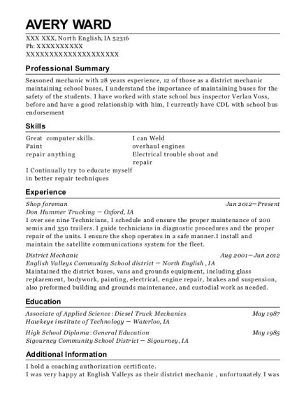 Shop Foreman Resume by Catamount Oilfield Services Shop Foreman Resume Sle