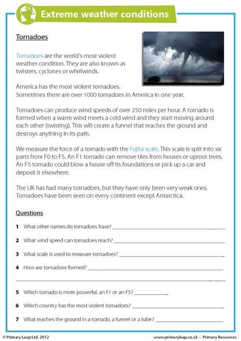 primaryleap co uk extreme weather conditions tornadoes worksheet first grade weather