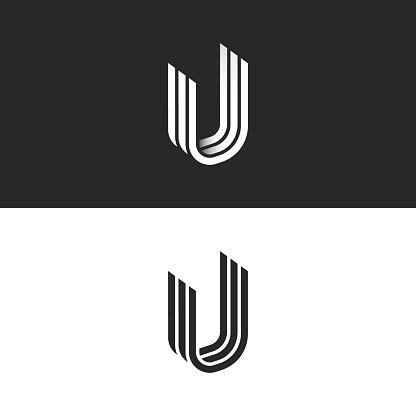 letter  logo isometric shape creative symbol uuu initials monogram overlapping lines smooth