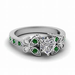 Vintage butterfly round engagement ring with black diamond for Emerald green wedding ring