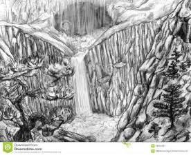 Waterfall Drawings Pencil