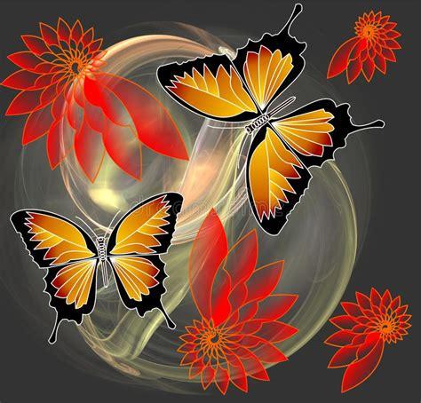 farfalle e fiori farfalle e fiori sul fondo di frattale illustrazione di