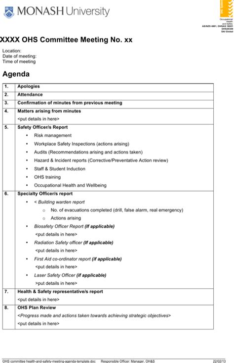 health  safety meeting agenda template