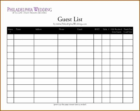party guest list template  sampletemplatess