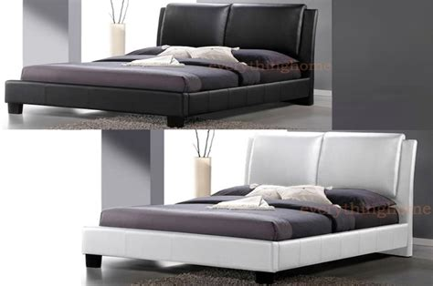Black And White Leather Bed Frame With Headboard And Black