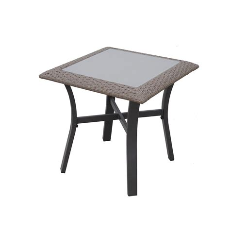 hton bay corranade metal outdoor accent table hd17548
