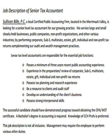 Tax Accountant Description Duties by Sle Senior Accountant Description 9 Exles In