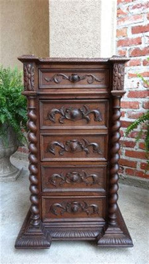antique french carved oak barley twist nightstand