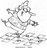 Coloring Hopscotch Hop Cartoon Playing Clipart Outlined Happy Woman Toonaday Pop Viewing Vecto Rs sketch template